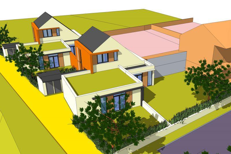 Projection 3D de 4 maisons individuelle pour la commune de Rémilly sur Tille - Architecture Athias