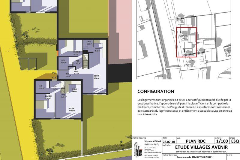 Etude urbaine pour la construction de logements pour la commune de Rémilly sur Tille - Architecture Athias