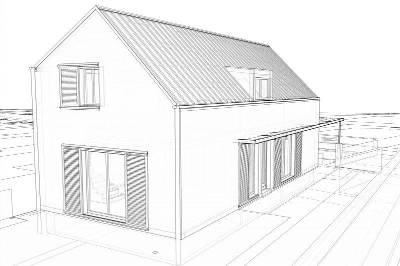 Projection 3D construction neuve d'une maison individuelle BBC - Architecture Athias