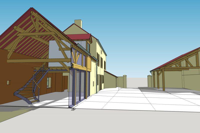 Projection 3D du projet de rénovation d'une ancienne ferme à Dijon - Vincent Athias Architecte