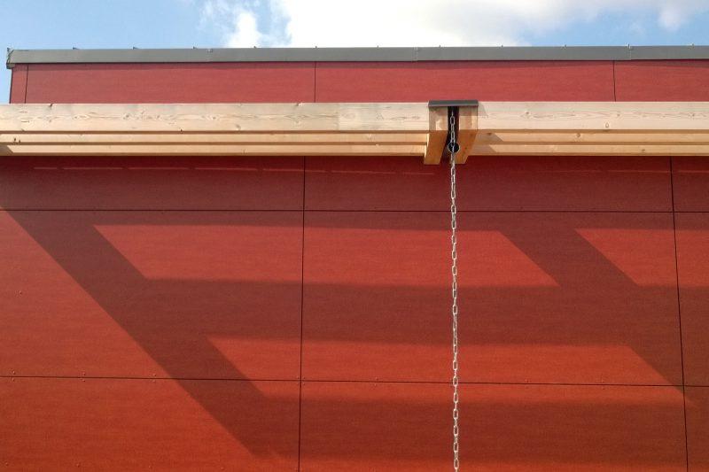 Détail du revêtement extérieur de la salle du Vernois à Rémilly Sur Tille - Architecte Vincent Athias