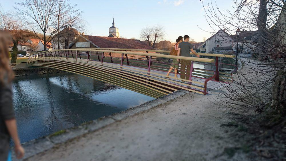 Vue 3D du projet de passerelle de Bèze