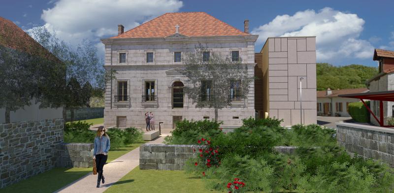 La façade Sud du presbytère réhabilité