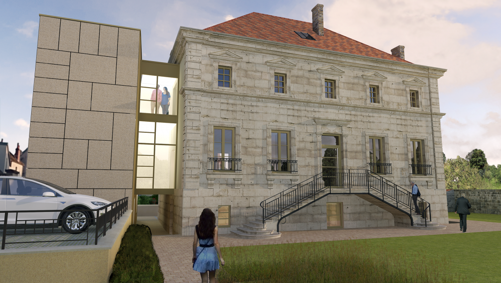 La façade nord du presbytère réhabilité (rendu3D)